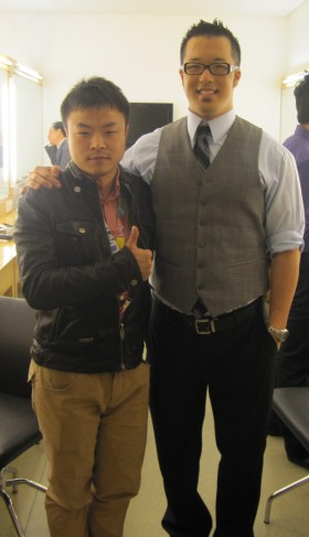 Justin Yang with Jiangsu TV producer.