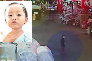 The little girl who was run over by two vans and ignored by 18 bystanders in Foshan.